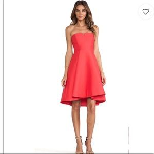 Halston Heritage Coral Flare Dress from REVOLVE